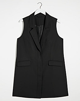 Black Longline Waistcoat