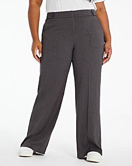 Grey Tab Detail Wide Leg Trouser
