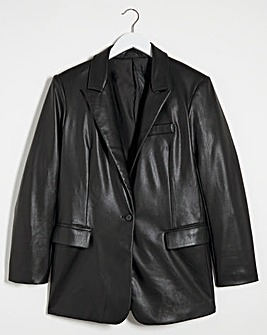 Black Faux Leather Blazer