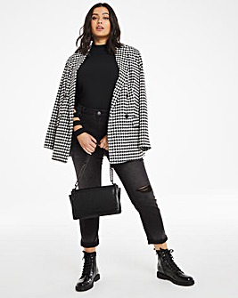 Oversized Houndstooth Check Blazer