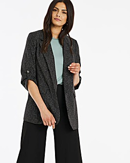 Black Micro Spot Relaxed Throw On Blazer