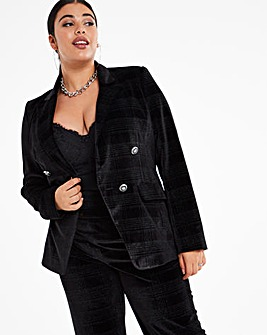Black Velour Check Statement Blazer