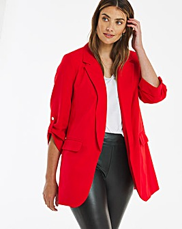Red Relaxed Throw On Blazer