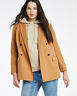 Camel Oversized Double Breasted Blazer