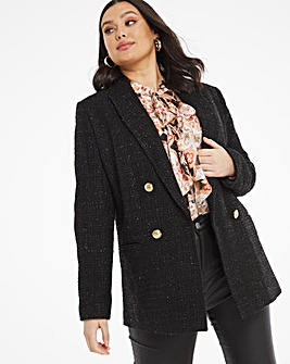 Black Boucle Oversized Blazer With Metallic Thread