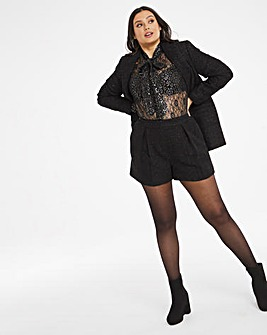 Black Boucle Tailored Shorts With Metallic Thread