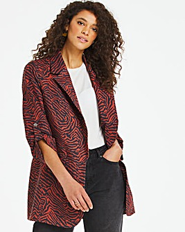 Rust Zebra Print Relaxed Throw On Blazer