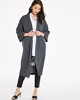 Edge to Edge Jacquard Throw On Longline Jacket