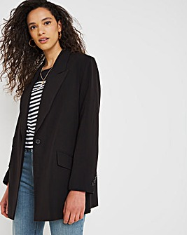 Black Oversized Blazer with Asymmetric Cuffs