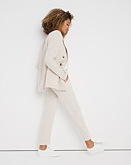 Neutral Linen Mix Tapered Tailored Trousers