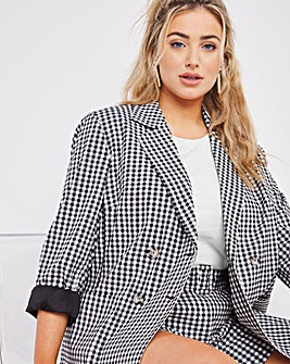 Gingham Double Breasted Blazer