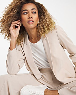 Premium Crepe Relaxed Fit Neutral Blazer