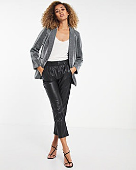 Relaxed Fit Silver Glitter Blazer