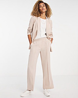 Premium Crepe Relaxed Wide Leg Trousers with Comfort Waistband