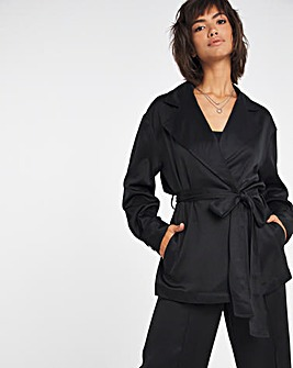Black Satin Back Tie Waist Utility Jacket