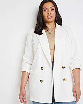 White Oversized Double Breasted Blazer