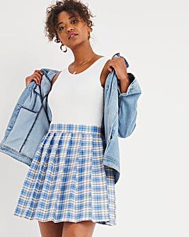 Blue Check Pleated Tennis Skirt
