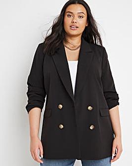 Black Oversized Double Breasted Blazer