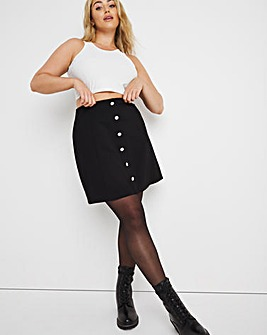 Ponte Jewel Button Front Skirt