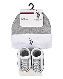 U.S. Polo Assn Baby Hat & Bootie Set