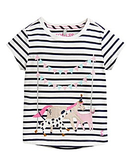 Joules Girls S/S Astra Applique Top