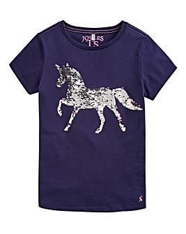 Joules Girls S/S Sequin Horse Top