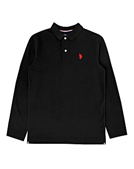 U.S. Polo Assn. Boys Black L/S Polo