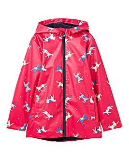 Joules Girls Raindance Horse Print Coat