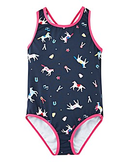 Joules Girls Horse Print Swimming Costume