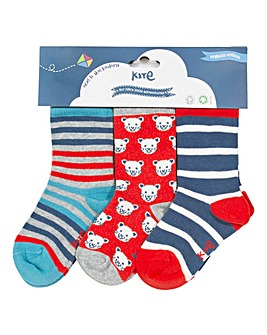 Kite Three Pack Cool Cat Socks