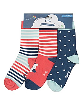 Kite Three Pack Owl Socks