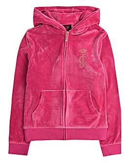Juicy Couture Girls Pink Velour Hoodie