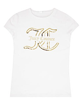 Juicy Couture Girls White Sequin T-Shirt