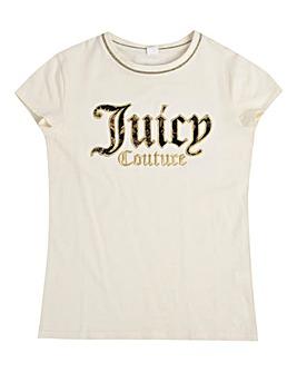 Juicy Couture Girls Cream Glitz T-Shirt