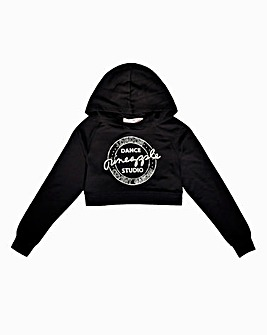 Pineapple Girls Black Crop Hoodie
