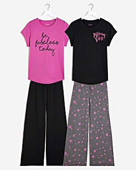 Pretty Secrets 2 Pack Value Wide Leg PJ Sets