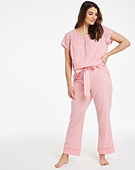 Cotton Dobby Embroidered PJ Set