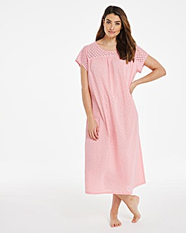 Pretty Secrets Cotton Dobby Embroidered Nightie 48 inch