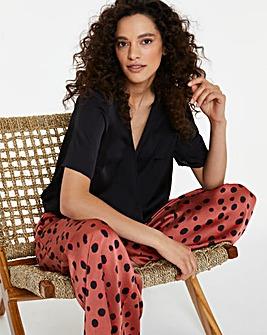 Pretty Secrets Hammered Satin Wrap Front Shirred Waist Pyjama Set