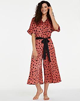 Pretty Secrets Hammered Satin Wrap Front Culotte Jumpsuit