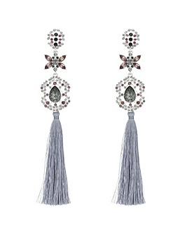 Mood Crystal Floral Tassel Drop Earring