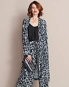 Animal Print Crepe Longline Jacket