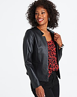 Leather Look Edge to Edge Cropped Blazer