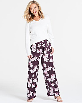 Purple Printed Satin Wide Leg Trouser
