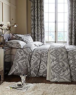 Baroque Jacquard Silver Duvet Cover Set