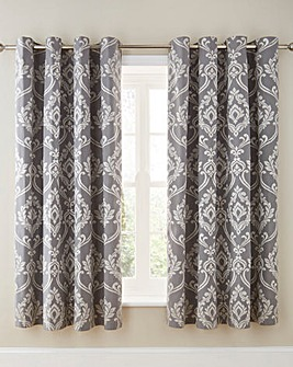 Baroque Jacquard Silver Eyelet Lined Curtains