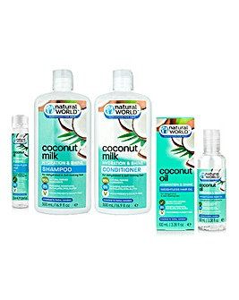 Natural World Coconut Milk Hydration & Shine Complete Hair Care Set
