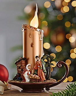 Nativity Scene Candle Light