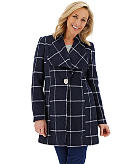 Navy Check Print Large Collar Coat