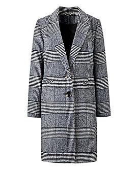Mono Check Print Single Breasted Coat